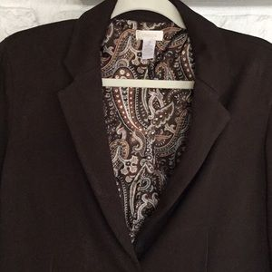 Chico's Brown Paisley Lined Blazer